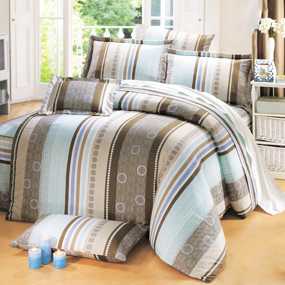 鴻宇 100%精梳棉 大阪風潮 雙人特大床包枕套三件組