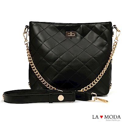 La Moda 本季最HOT小香風菱格紋肩背大容量斜背鏈帶大包(黑)