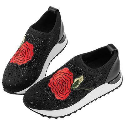 Robinlo 玫瑰刺繡貼鑽襪子休閒鞋 黑