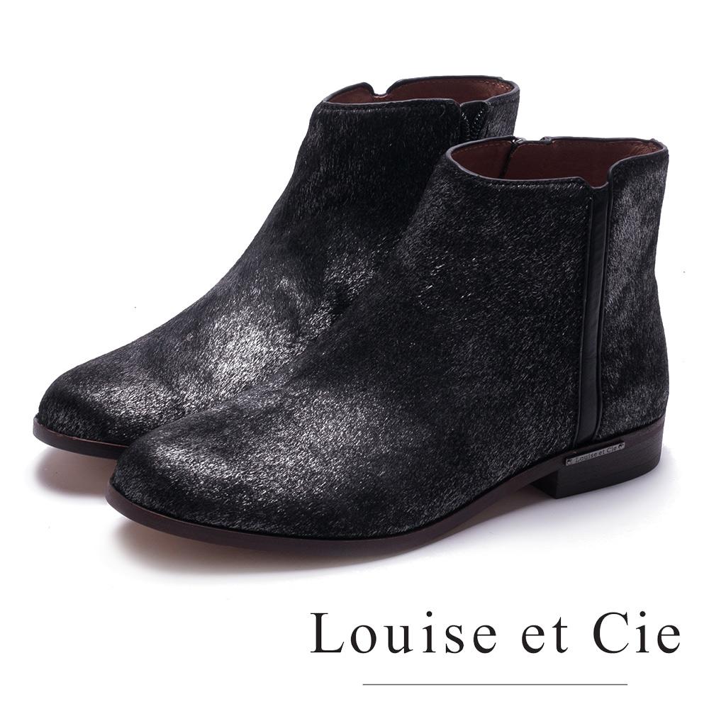 Louise et Cie-金屬飾扣素色馬毛短靴-鐵色