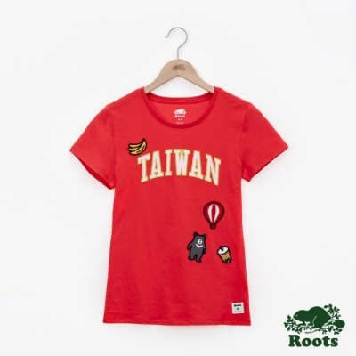 女裝Roots-台灣國慶貼布短袖T恤-紅色