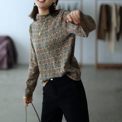 復古提花堆堆領針織衫薄毛衣四色可選-設計所在