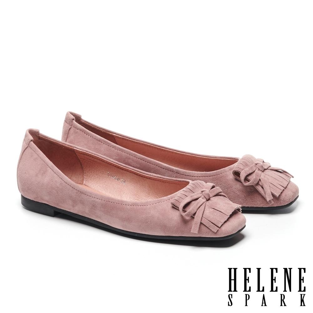 平底鞋 HELENE SPARK 氣質時尚流蘇蝴蝶結全真皮方頭平底鞋-粉