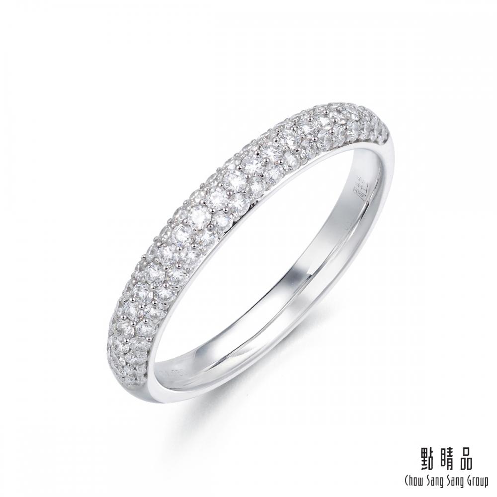 點睛品 Promessa 18K金 閃耀鑽石戒指女戒線戒