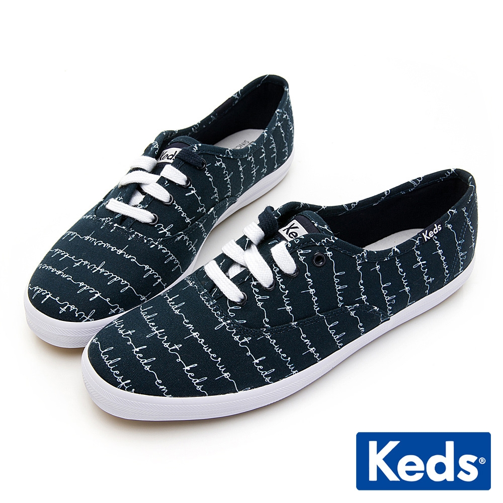 Keds CHAMPION 手繪藝術塗鴉綁帶休閒鞋-海軍藍