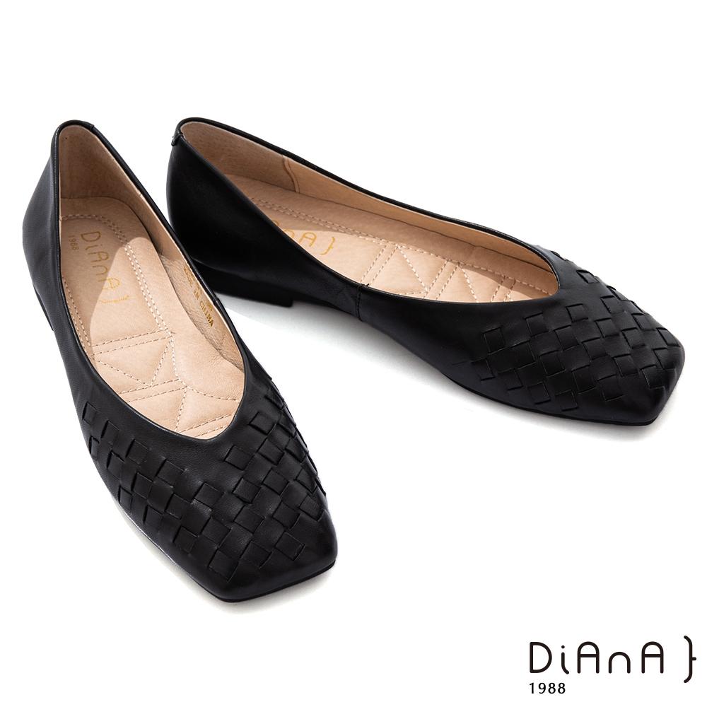 DIANA 1.5cm 柔軟羊皮編織方頭低跟鞋-都會時尚-黑