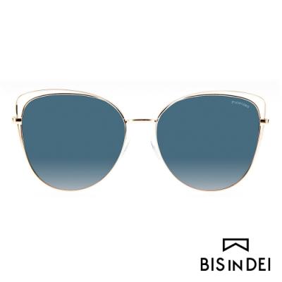 BIS IN DEI 鏤空造型貓眼眶太陽眼鏡-藍