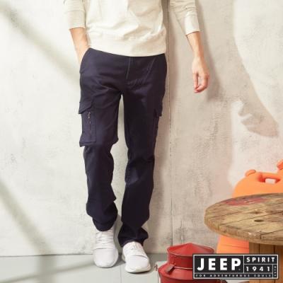 時時樂限定 JEEP 經典休閒口袋工作褲-深藍色