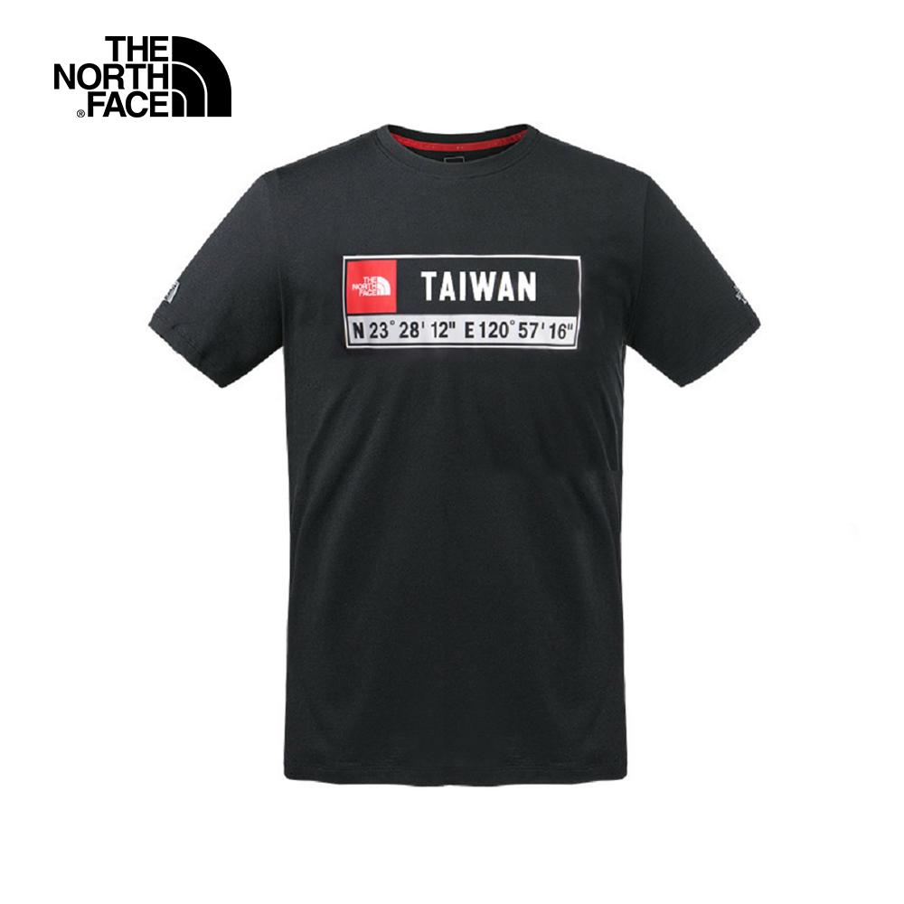 The North Face北面男款黑色台灣座標印花透氣短袖T恤 3V85JK3