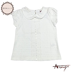 Annys安妮公主-氣質蝴蝶結領蕾絲網紗緞帶舒適透氣純棉公主袖上衣*8322白