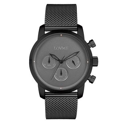 LOVME Stardust米蘭帶款時尚手錶-IP黑x灰/43mm
