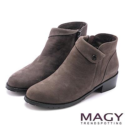 MAGY 簡約時髦 復古反折鉚釘牛皮短靴-灰色