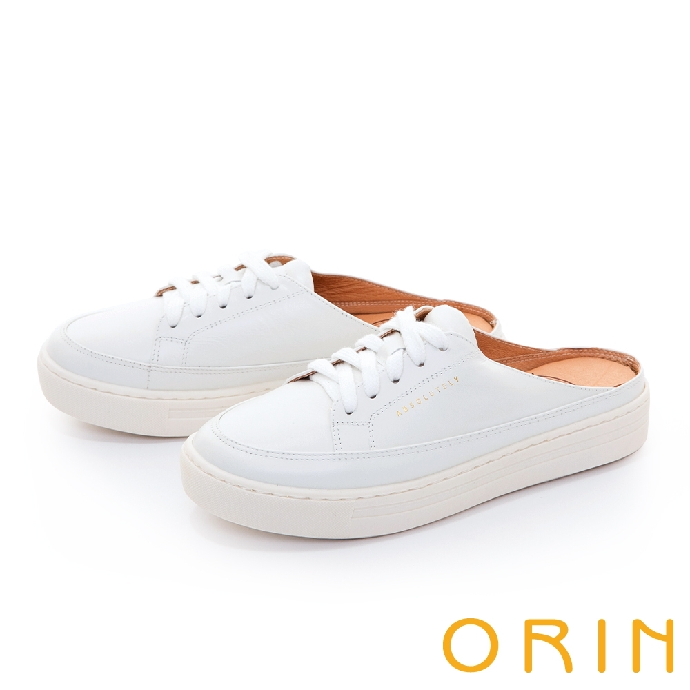 ORIN 真皮綁帶穆勒厚底 女 休閒鞋 白色