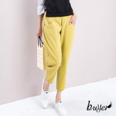 【白鵝buyer】休閒韓版棉料口袋老爺褲-芥黃