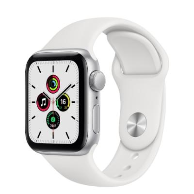 Apple Watch SE (GPS) 40mm 銀色鋁金屬錶殼+白色錶帶(MYDM2TA/A)