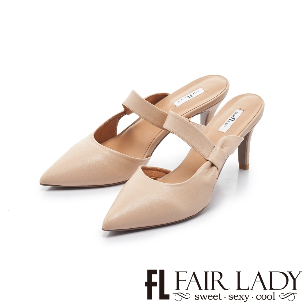 FAIR LADY 優雅小姐 尖頭一字帶高跟穆勒鞋 小麥