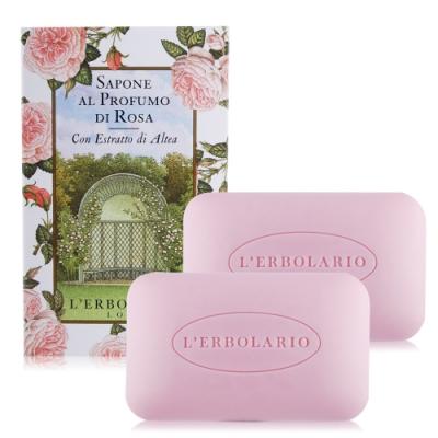 L ERBOLARIO 蕾莉歐 玫瑰植物香氛皂100gX2-贈品牌試用包(隨機出貨)