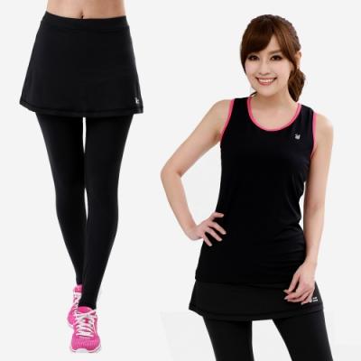 【遊遍天下】兩件組_MIT女款排汗彈力背心 +假兩件彈力褲