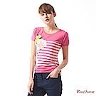 KeyWear奇威名品     精選印花鑽飾條紋短袖針織上衣-桃紅色