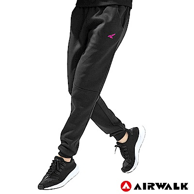 【AIRWALK】女款運動剪接長褲-黑