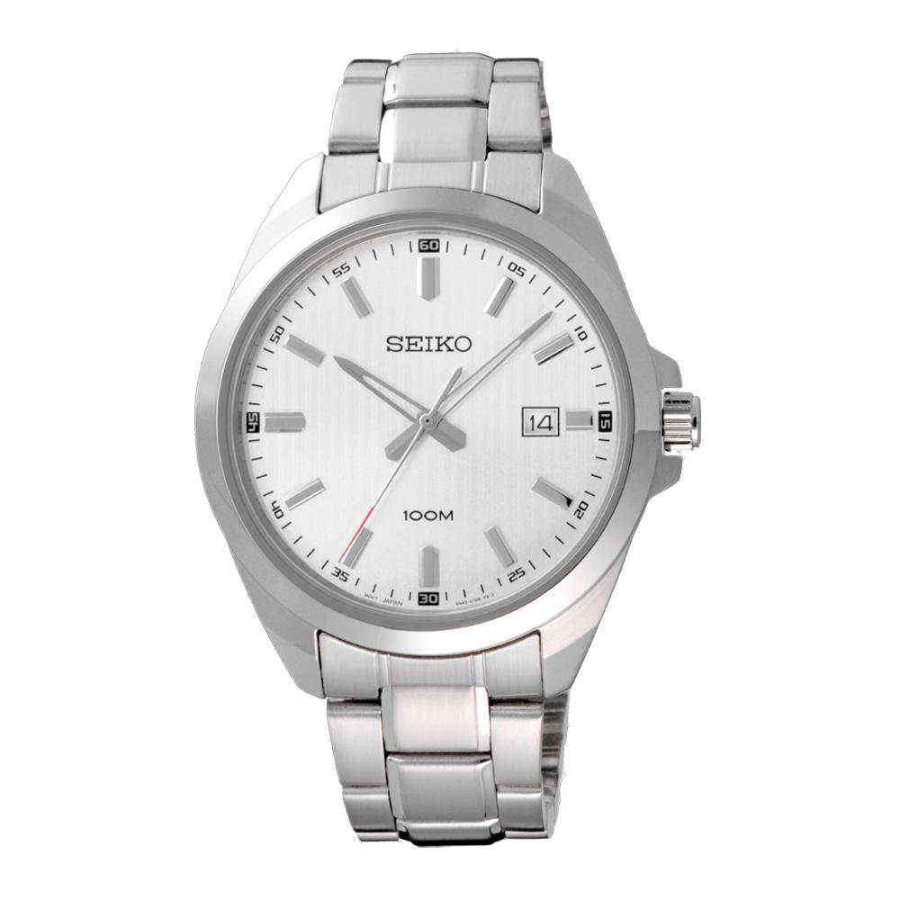 SEIKO風格時尚條紋腕錶-銀X白(SUR273P1)-42mm @ Y!購物