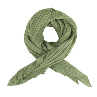 ISSEY MIYAKE 三宅一生 PLEATS PLEASE 四摺素面斜紋圍巾-橄欖綠