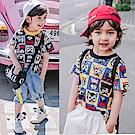 小衣衫童裝  兒童中性款貓咪拼色塊短袖T恤1080504