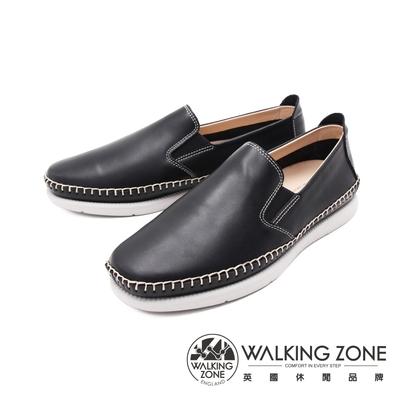 WALKING ZONE(男) 牛皮樂福鞋休閒鞋 男鞋 - 黑(另有棕)