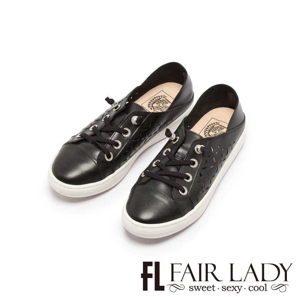 Fair Lady Soft Power軟實力 縷空綁帶休閒鞋 酷黑