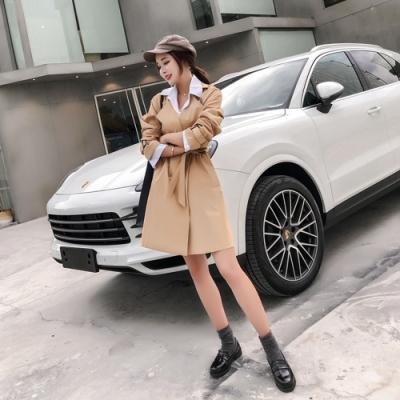 韓版純色綁帶風衣外套S-2XL(共三色)-Dorri