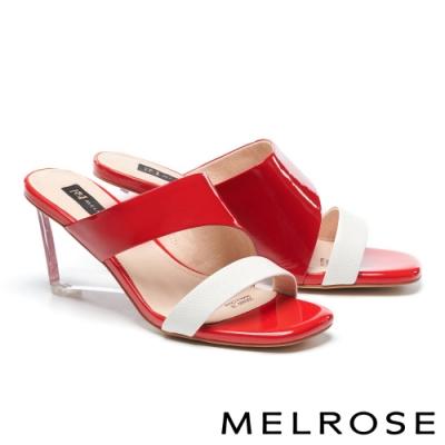 拖鞋 MELROSE 時髦亮麗異材質拼接方頭高跟拖鞋-紅