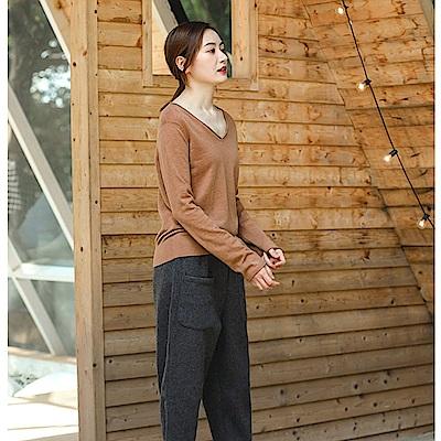 休閒褲-好版型羊毛呢寬管九分褲-XK840-設計所在