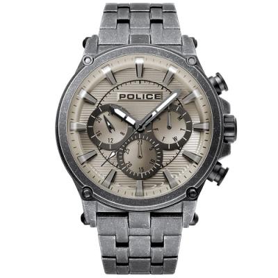 POLICE 王者風範三眼時尚手錶-古銅X灰/47mm