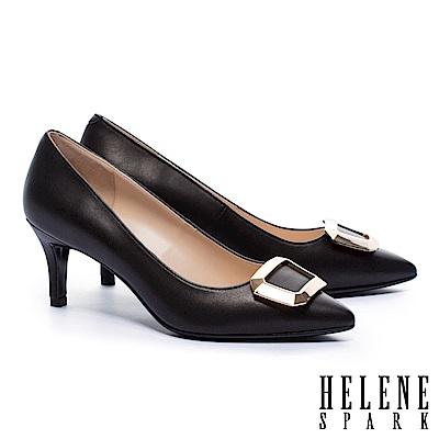 高跟鞋 HELENE SPARK 都市優雅金屬方釦羊皮尖頭高跟鞋-黑