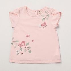 PIPPY春意林間小鳥圓領T恤 粉紅