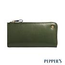 PEPPER'S Raven 牛皮撞色拉鍊長夾 - 橄欖綠