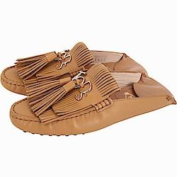 TOD'S Gommino 流蘇牛皮豆豆穆勒鞋(女款/棕色)