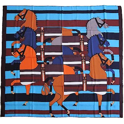Hermes Rocabar 條紋馬兒喀什米爾羊絨披肩/方巾(咖藍)