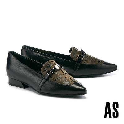 低跟鞋 AS 復古時髦異材質拼接牛油皮尖頭樂福低跟鞋-黑