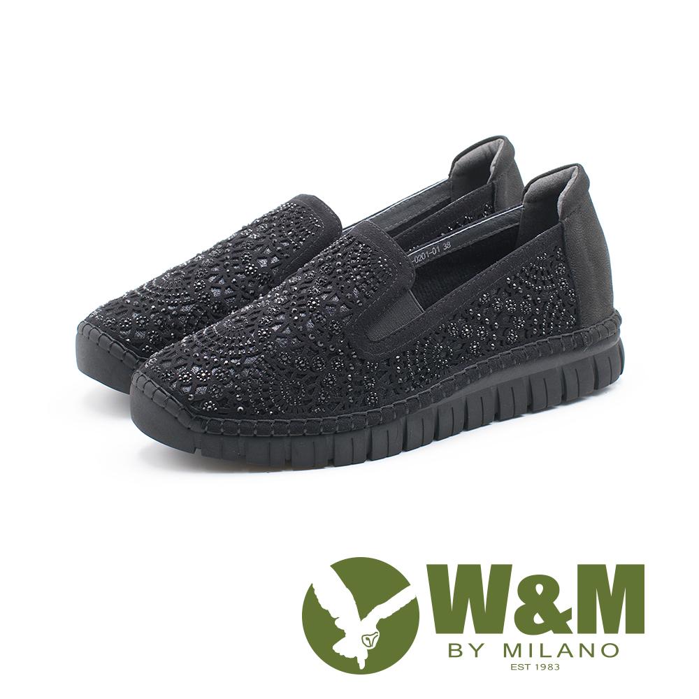 W&M 法系優雅 花朵鑲鑽休閒 女鞋-黑(另有灰)