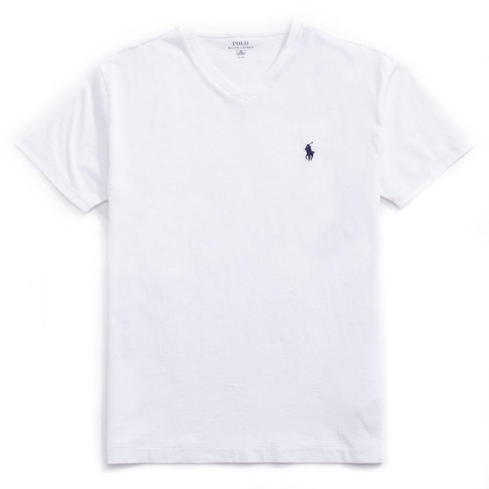 Polo Ralph Lauren 經典小馬V領素面短袖T恤(女)-白色