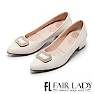 Fair Lady Cube Chic塊時尚 優雅名媛水鑽尖頭粗跟鞋 經典白