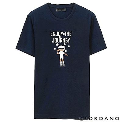 GIORDANO 男裝假期休閒印花T恤-59 標誌海軍藍