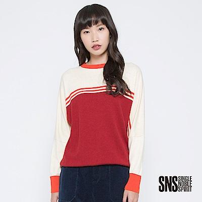 SNS 重返7 0撞色學院風圓領針織衫(2色)