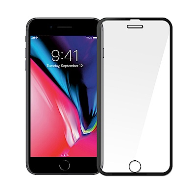 iPhone 6P/7P/8P適用滿版細邊高清亮面加強防爆2.5D鋼化保護貼/兩色可選