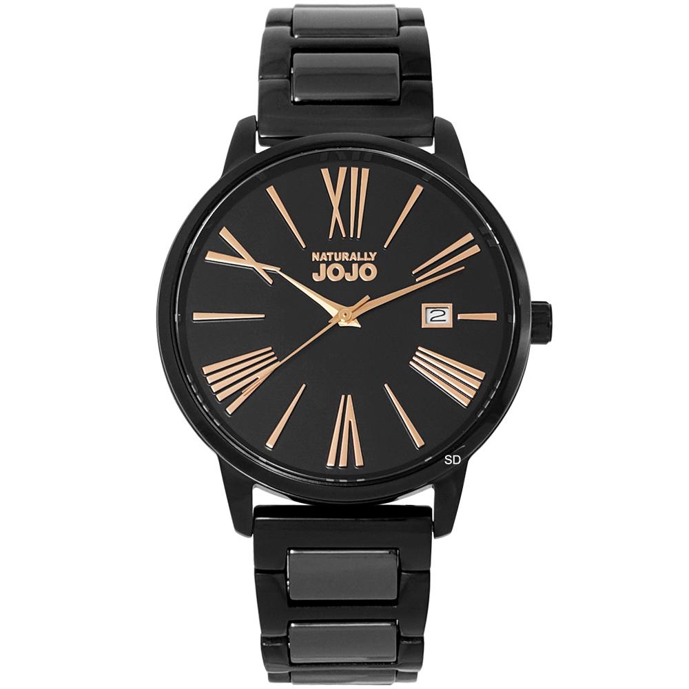 NATURALLY JOJO 羅馬時標時尚陶瓷手錶-黑X玫瑰金/37mm