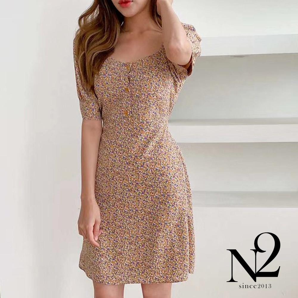 洋裝 正韓方領排扣公主袖後綁帶碎花連身裙(橘)N2