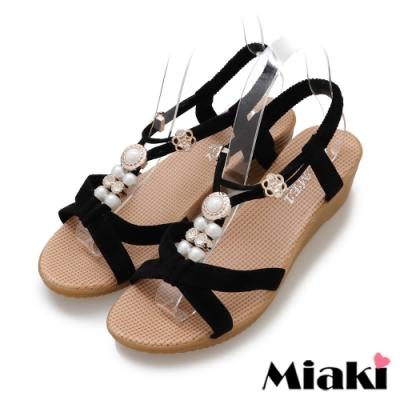 Miaki-涼鞋華麗珍珠楔型涼拖-黑