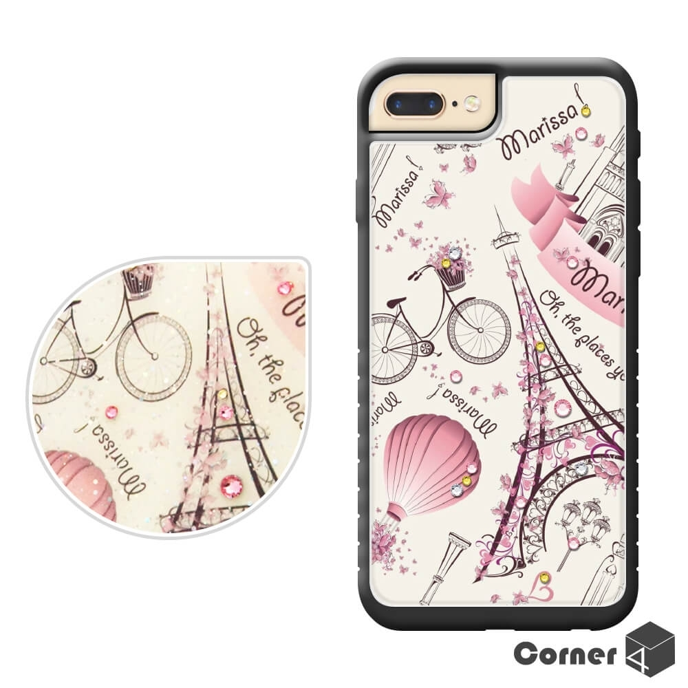 Corner4 iPhone8/7/6s Plus 奧地利彩鑽亮粉減震手機殼-艾菲爾鐵塔