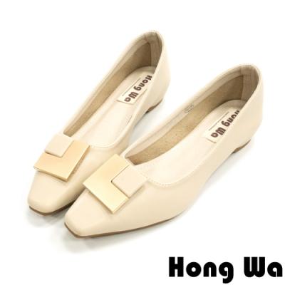 Hong Wa 輕穿搭‧素面牛皮L方釦粗低跟包鞋 - 米